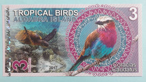 Aldabra islands 3 dollars 2017.