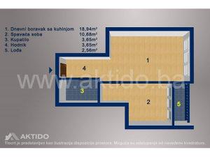 NOVOGRADNJA manji dvosoban stan površine 39,48m², Tuzla