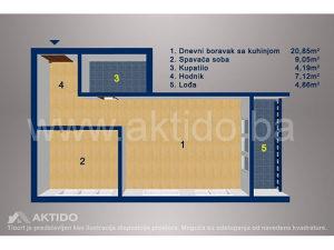 NOVOGRADNJA dvosoban stan površine 46,16m², Tuzla