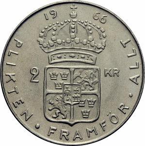 2 Kronor 1963  1964 1965   srebro