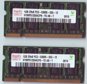 RAM 2x1GB DDR2 667mhz za laptop