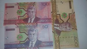Turkmenistan 50, 100 i 500 manat 2005 UNC set