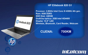 HP Elitebook 820 G1 Core i5 4th gen.
