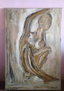 Umjetnička slika akrilnim bojama apstrakcija