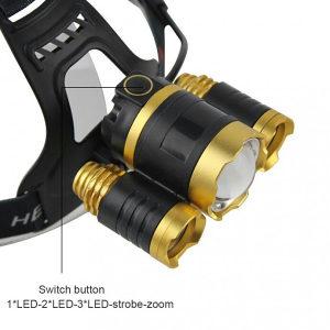 Naglavna Led lampa gold zlatna sa baterijama