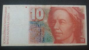 Švicarska 10 franaka 1987