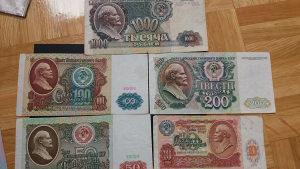 rusija 10,50,100,200 i 1000 rublji 1991/92 set