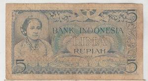 indonezija 5 rupija 1952
