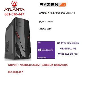 Gamer ryzen 5 1400 16GB DDR4 240gb SSD RX 570 8gb