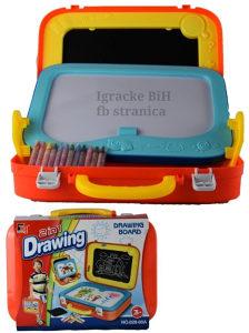 Tabla za crtanje sa dva lica 2u1 u koferu (sa bojicama)