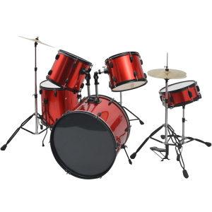 vidaXL Komplet Bubnjeva Obloženi Čelik Crveni
