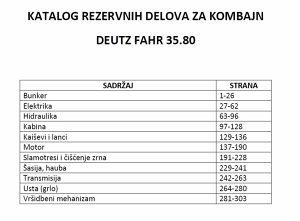 Deutz Fahr 35.80  kombajn- katalog dijelova