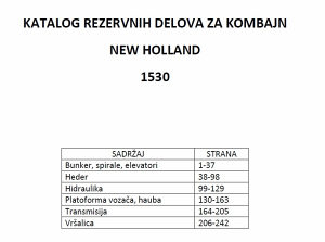 New Holland 1530 kombajn - katalog dijelova