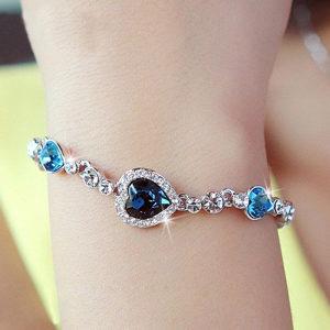 Ženska narukvica Srce Okeana Swarovski kristal plava