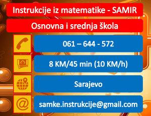 Instrukcije iz matematike - 8KM - MATEMATIKA - Sarajevo