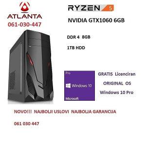 Ryzen 5 2600 Nvidia gtx 1060 6gb 1TB 8GB ddr4 gamer pc