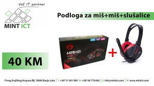 Podloga za miš + miš + slušalice= 40KM