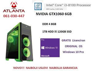 Računar i3 8100 1060 6gb 8gb ddr4 ms hulk