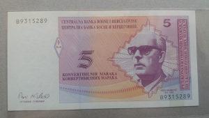 BiH 5 maraka 1998 UNC (latinica pa ćirilica)