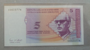 BiH 5 maraka 1998 UNC (ćirilica pa latinica)