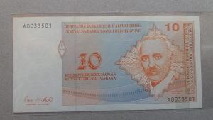 BiH 10 maraka 1998 unc Aleksa Šantić