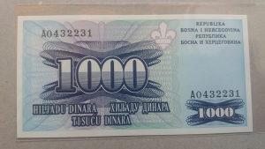 BiH 1000 dinara 1995 unc Londonka