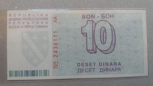 BiH 10 dinara 1992 UNC rijetko