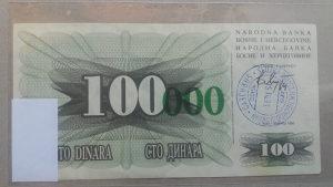 BiH 100 000 dinara UNC (15.10.1993. Sarajevo)
