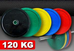 Bumperi tegovi olimpijski sa prstenom 120kg + Šipka
