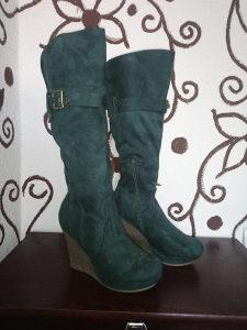 Ženske čizme / ispod koljena / br 38 / zelene