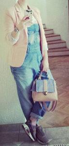 Ženske tregerice teksas pantalone jeans kombinezon XL