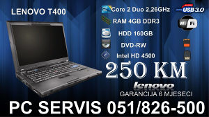 Lenovo T400 Core2duo 2.4GHz DDR3 4GB sa kamerom