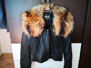 Ženska kožna jakna sa krznom rakuna M