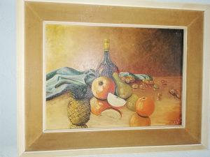 Stara umjetnička slika ulje na platnu mrtva priroda