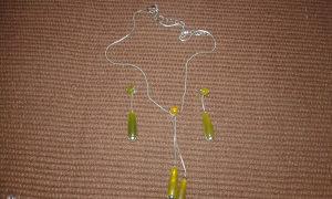 zeleni lančić sa naušnicama-komplet