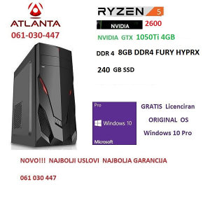 Amd ryzen 5 2600/1050 Ti 4GB/8GB DDR4/240 SSD gamer pc