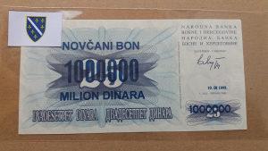 BiH 1 000 000 dinara 1993 UNC