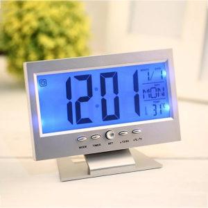 LED digitalni sivi stoni sat - alarm - kalendar