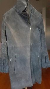 Kožna duga jakna, velur, vel 36. , 30 KM