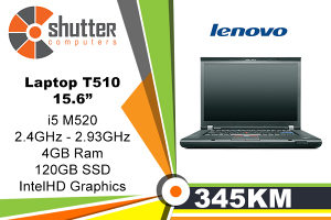 "Laptop Lenovo T510 i5 15.6"" SSD 120GB"