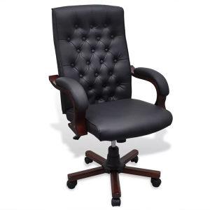 Chesterfield uredska stolica od umjetne kože, crna