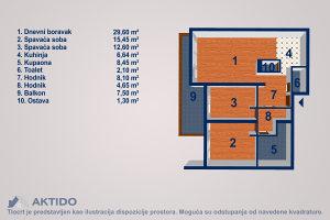 NOVOGRADNJA trosoban stan površine 95,69m², Tuzla