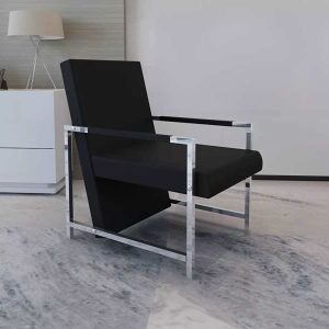 Crna fotelja s kromiranim nogama visoke kvalitete
