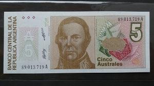 argentina 5 australa 1988 UNC